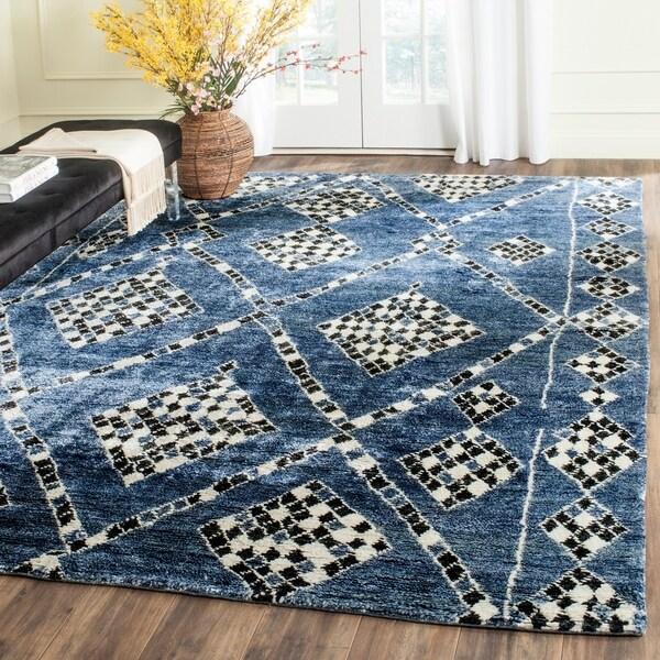 Shop Safavieh Moroccan Hand-Woven Blue / Black Area Rug