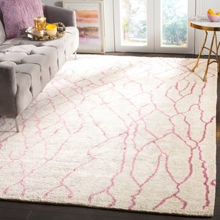 Safavieh Moroccan Hand-Woven Ivory / Pink Area Rug (9' x 12')