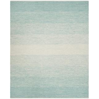 Safavieh Montauk Hand-Woven Cotton Turquoise / Ivory Area Rug (9' x 12')