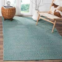 Safavieh Montauk Hand-Woven Cotton Turquoise / Multi Area Rug - 9' x 12'