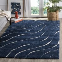 Safavieh Florida Shag Soft Serene Waves Dark Blue/ Cream Rug - 8' x 10'