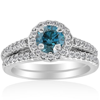 10k White Gold 7/8ct Round Halo Blue Diamond Engagement Matching Ring Wedding Band Set