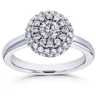 Annello by Kobelli 14k White Gold 4/5ct TDW Rounded Dome Cluster Diamond Engagement Ring (H-I, SI)