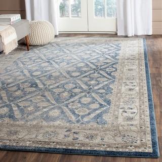 safavieh sofia vintage trellis blue beige distressed area rug 10u0027 x 14u0027
