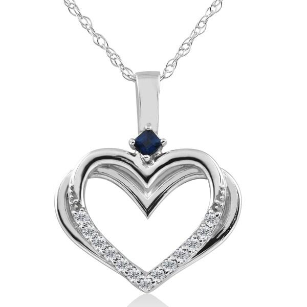 Shop 10K White Gold 1/6 Ct TDW Diamond & Blue Sapphire