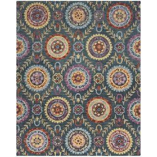 Safavieh Suzani Hand-Woven Wool Blue / Multi Area Rug (8' x 10')