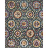 Safavieh Suzani Hand-Woven Wool Blue / Multi Area Rug (8' x 10') - 8' x 10'