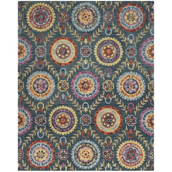 Safavieh Suzani Hand-Woven Wool Blue / Multi Area Rug (8' x 10') - 8' x 10'