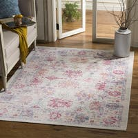 Safavieh Windsor Ivory / Fuchsia Distressed Silky Polyester Area Rug - 9' x 13'