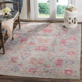 Safavieh Windsor Grey / Fuchsia Distressed Silky Polyester Area Rug (8' x 10')