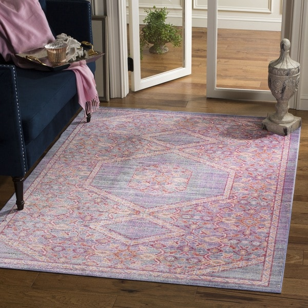 Safavieh Windsor Lavender/ Pink Distressed Silky Polyester Area Rug (9' x 13')