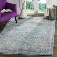 Safavieh Windsor Spa / Fuchsia Distressed Silky Polyester Area Rug - 8' x 10'