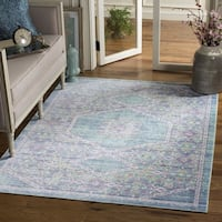 Safavieh Windsor Spa / Fuchsia Distressed Silky Polyester Area Rug - 9' x 13'