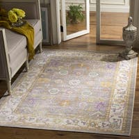 Safavieh Windsor Grey / Cream Distressed Silky Polyester Area Rug - 9' x 13'