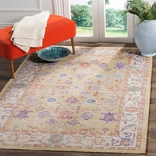 Safavieh Windsor Gold/ Lavender Distressed Silky Polyester Area Rug (8' x 10')