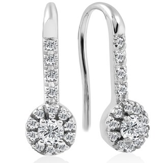10k White Gold 1/4 ct TDW Diamond Halo Drop Stud Earrings