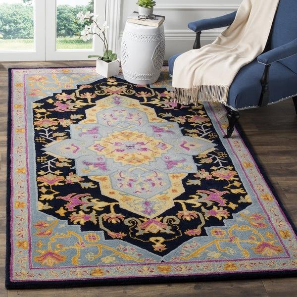 shop safavieh bellagio hand woven wool navy blue multi area rug 2 39 x 3 39 on sale free. Black Bedroom Furniture Sets. Home Design Ideas