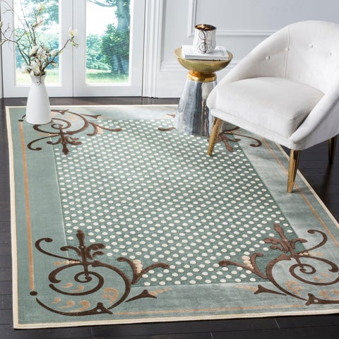 Martha Stewart by Safavieh Scrollwork Blue Viscose Rug - 2'7 x 4'