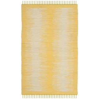 Safavieh Hand-Woven Montauk Flatweave Gold Cotton Rug (2' 6 x 4')
