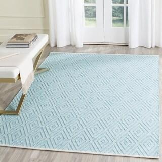 Safavieh Montauk Hand-Woven Cotton Turquoise / Ivory Area Rug - 11' x 15'