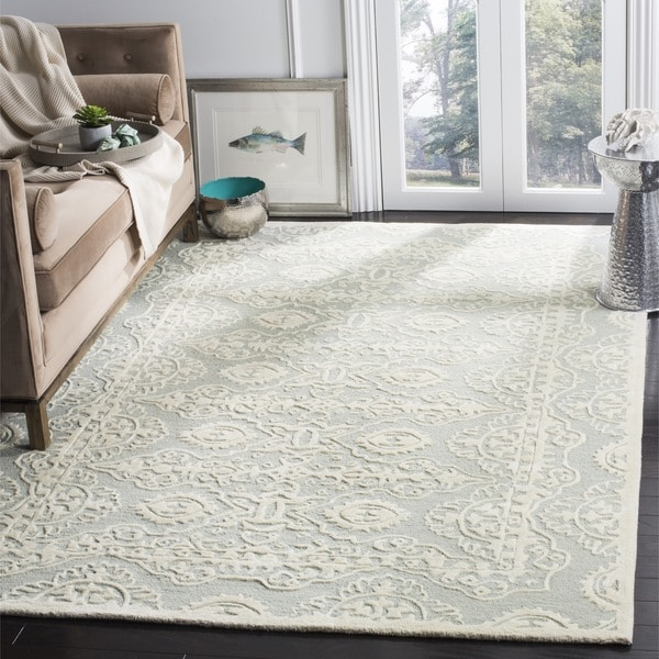 Safavieh Hand-Woven Bella Grey / Ivory Wool Rug - 5' Square
