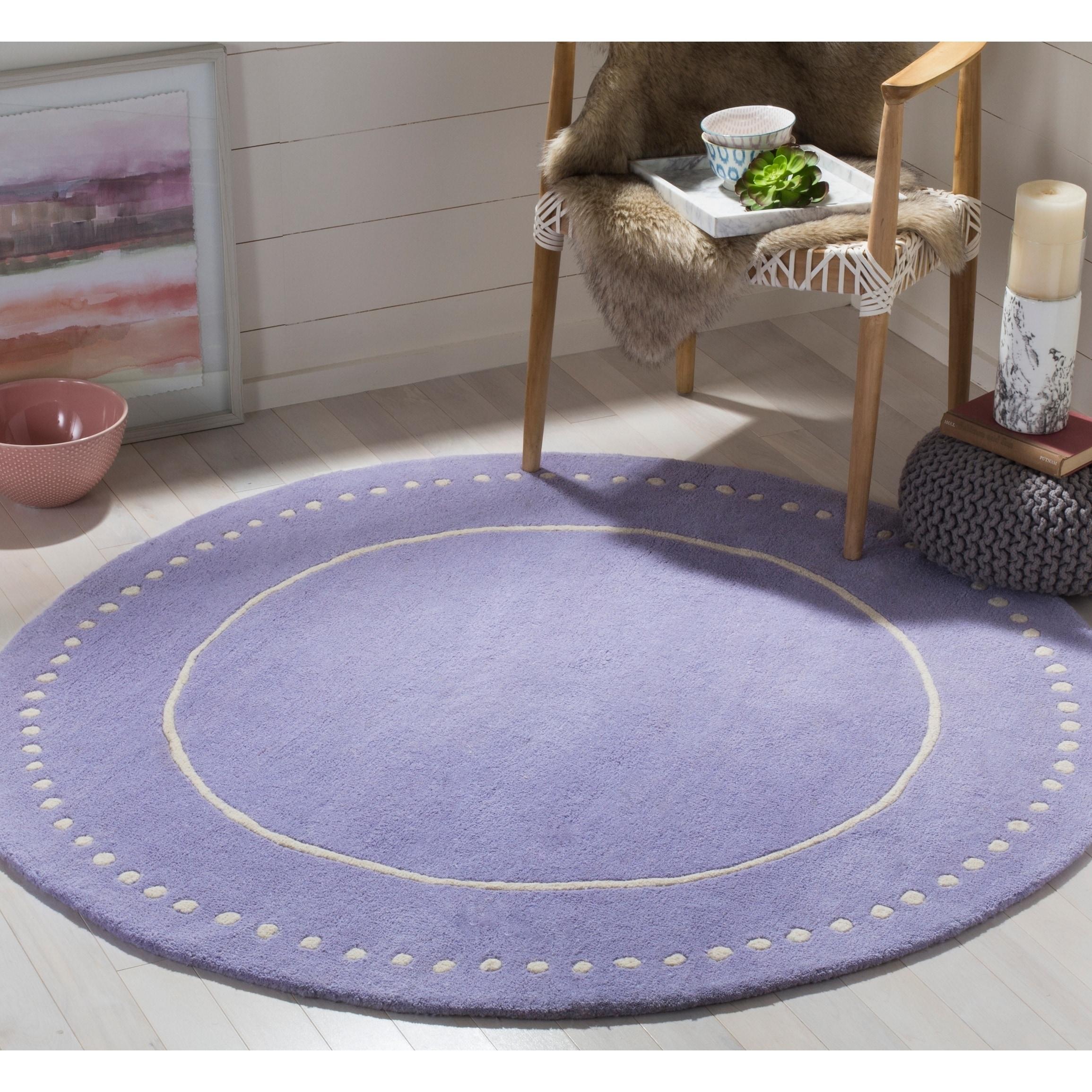 Lavender Rug: Safavieh Bella Contemporary Handmade Lavender / Ivory Wool