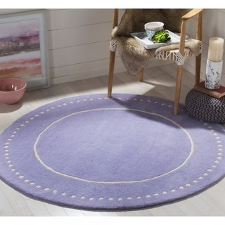 Safavieh Bella Contemporary Handmade Lavender / Ivory Wool Rug (5' Round)