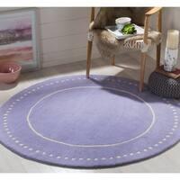 Safavieh Bella Contemporary Handmade Lavender / Ivory Wool Rug - 5' Round