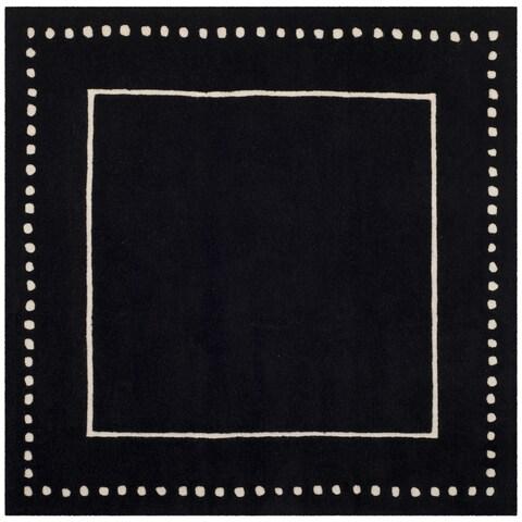 Safavieh Bella Contemporary Handmade Black / Ivory Wool Rug - 5' x 5' Square
