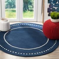 Safavieh Bella Contemporary Handmade Navy Blue / Ivory Wool Rug - 5' x 5' Round
