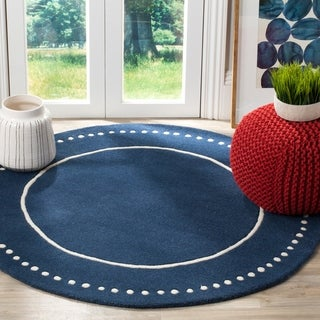 Safavieh Bella Contemporary Handmade Navy Blue / Ivory Wool Rug - 5' Round