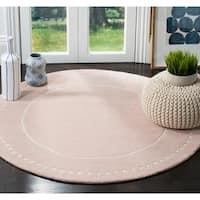 Safavieh Bella Contemporary Handmade Light Pink / Ivory Wool Rug - 5' X 5' Round