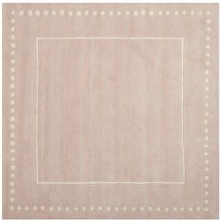 Safavieh Bella Contemporary Handmade Light Pink / Ivory Wool Rug (5' Square)