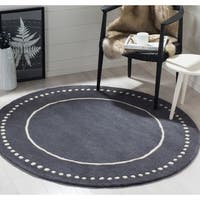 Safavieh Bella Contemporary Handmade Dark Grey / Ivory Wool Rug - 5' Round