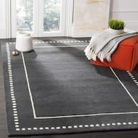 Safavieh Bella Contemporary Handmade Dark Grey / Ivory Wool Rug - 5' Square