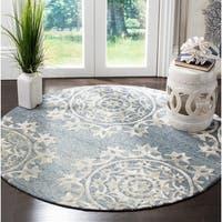 Safavieh Hand-Woven Bella Contemporary Blue Wool Rug - 5' x 5' round