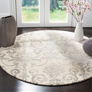 Safavieh Hand-Woven Bella Contemporary Ivory / Grey Wool Rug - 5' Round