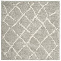 "Safavieh Berber Tribal Light Grey / Cream Shag Rug - 5'-1"" X 5'-1"" Square"