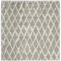 Safavieh Berber Tribal Light Grey / Cream Shag Rug - 5' 1 Square