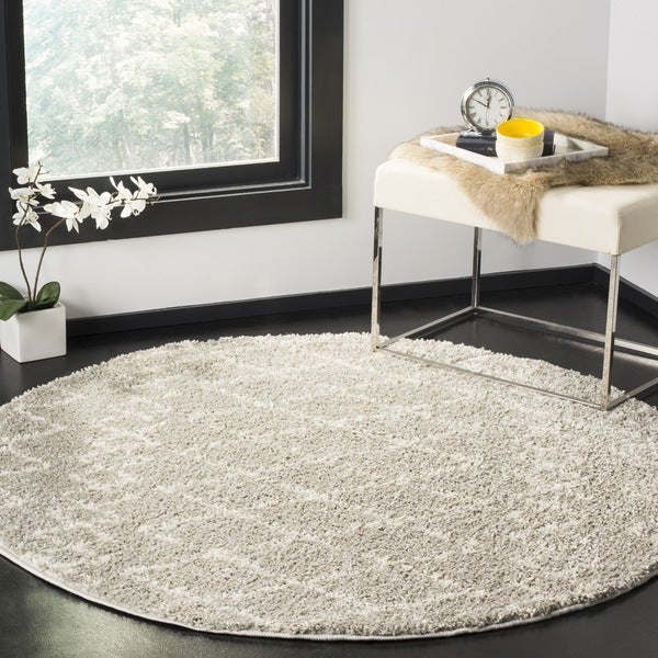 Safavieh Berber Tribal Light Grey / Cream Shag Rug - 5' 1 round