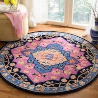 Safavieh Bellagio Hand-Woven Wool Pink / Multi Area Rug - 5' Round