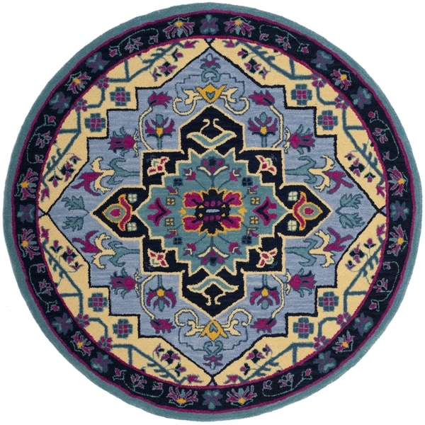 Safavieh Bellagio Hand-Woven Wool Light Blue / Multi Area Rug (5' Round)