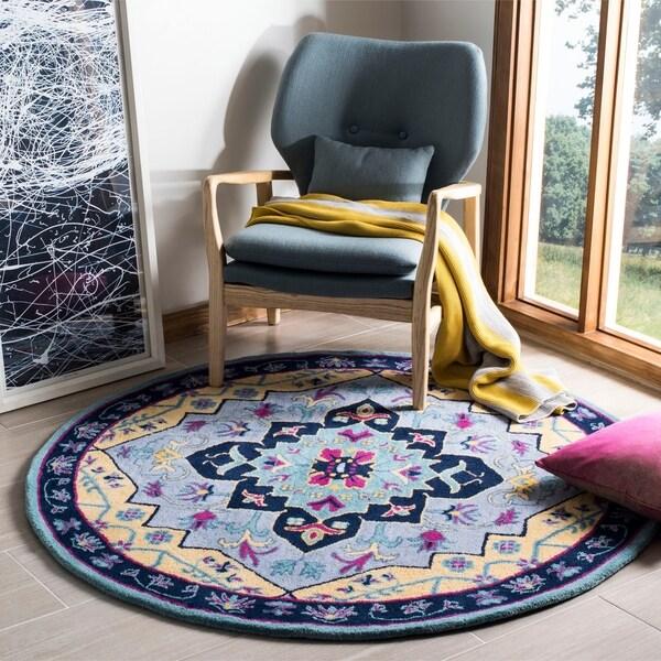 Safavieh Bellagio Hand-Woven Wool Light Blue / Multi Area Rug - 5' Round