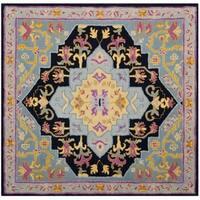 Safavieh Bellagio Hand-Woven Wool Navy Blue / Multi Area Rug - 5' Square