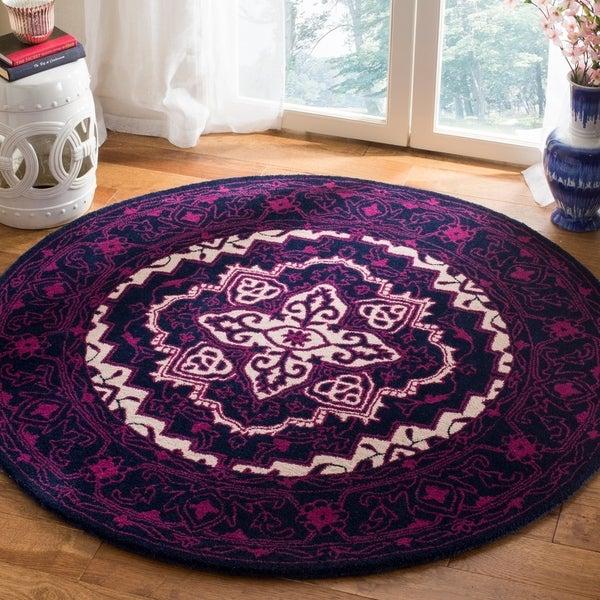 Safavieh Bellagio Handmade Bohemian Purple / Ivory Wool Rug - 5' Round