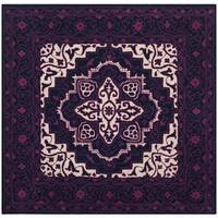 Safavieh Bellagio Handmade Bohemian Purple / Ivory Wool Rug (5' Square)