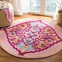 Safavieh Bellagio Hand-Woven Wool Pink / Multi Area Rug - 5' Round
