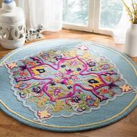 Safavieh Bellagio Hand-Woven Wool Light Blue / Multi Area Rug - 5' Round