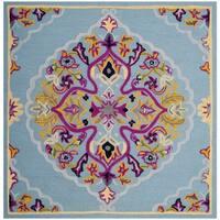 Safavieh Bellagio Hand-Woven Wool Light Blue / Multi Area Rug - 5' Square