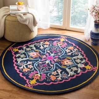 Safavieh Bellagio Hand-Woven Wool Navy Blue / Multi Area Rug (5' Round)